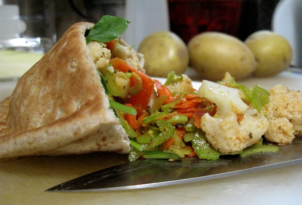 Pita filled with hand-crafted giardiniera