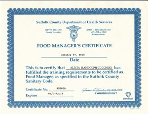 Food managers certificate