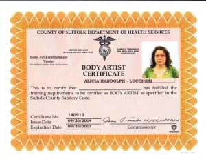 Tattoo Cert Course certificate 09-26-14